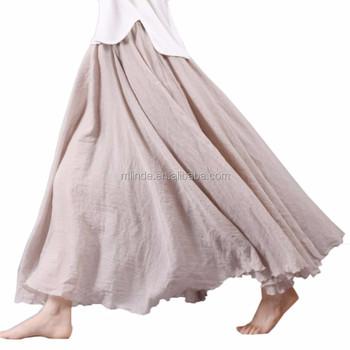 b0cc761fe Mujeres Verano Largo Equipado Faldas Algodón Lino Cintura Elástica Plisada  Playa Boho Vintage Faldas - Buy Largo Maxi Falda,Llanura Maxi Falda Boho ...