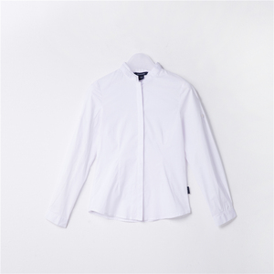 Breathable design white combine cotton shirt