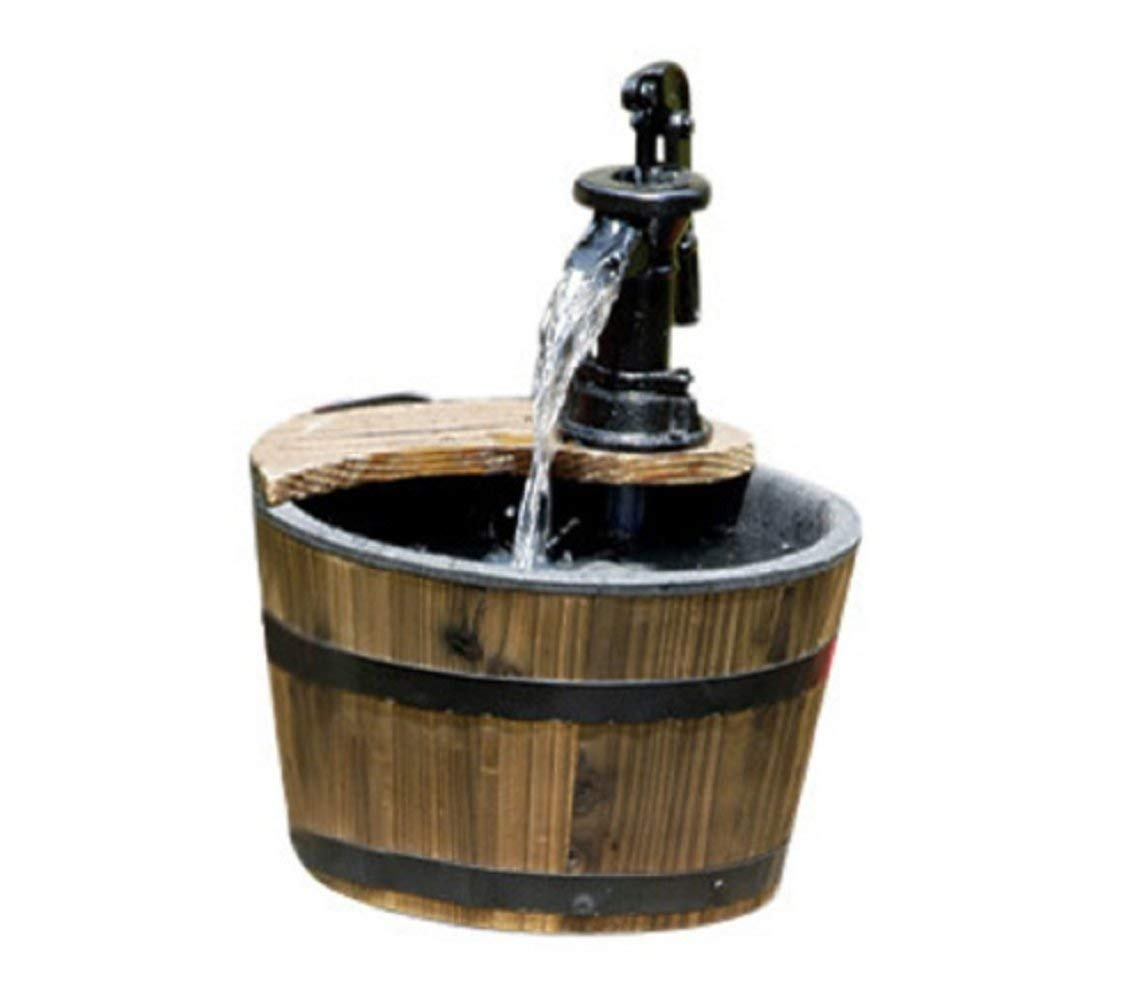 MyEasyShopping Wood Barrel with Pump Patio Water Fountain - Small Garden Water Fountain, 10.5 W x 10.5 D x 13.75 H