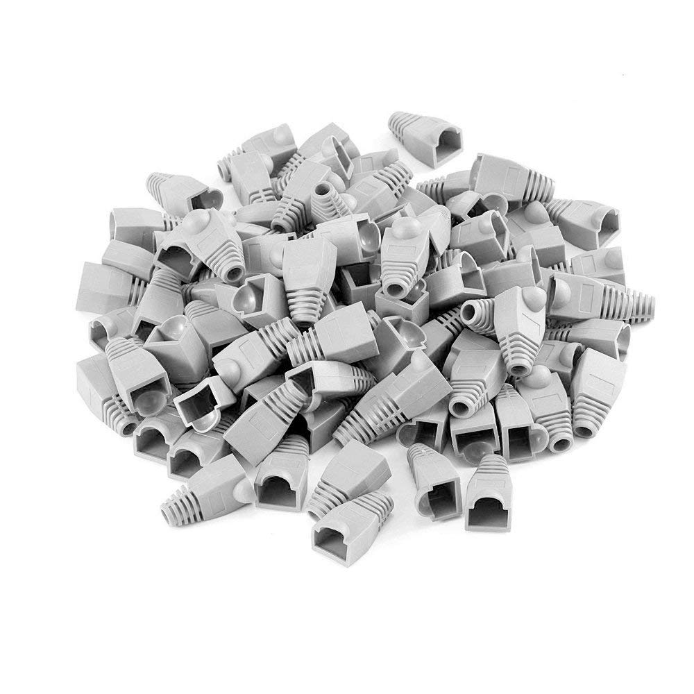 100 Pcs RJ45 Color Coded Strain Relief Boots in Gray