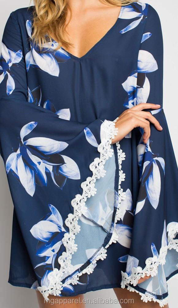e7fa7ce90d7a campana manica floaty chic tubino blu stampa floreale abito donna a stile  boho