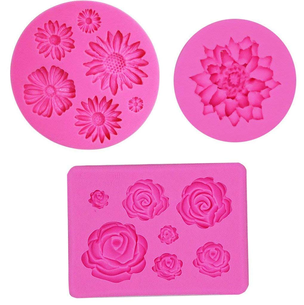 3Pcs Silicone Fondant Molds, Rose Daisy Lotus Candy Mold Floral Cake Sugar Craft Mold Cake Candy Making Mold Cake Baking Tools Chocolate Cake DIY Maker Cupcake Topper Decorating Clay Soap Molds