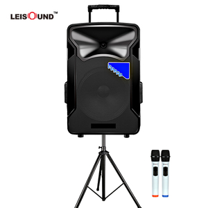 12inch or 15inch trolley rechargeable battery stage speaker with tripod