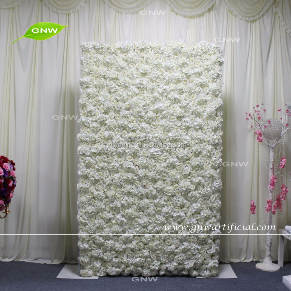 GNW FLW1607001-CL High quality roll up artificial flower wall cloth with rose