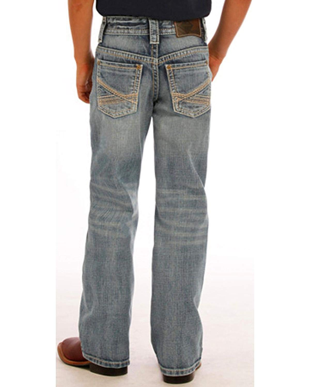 19686bd96b7 Get Quotations · Rock   Roll Cowboy Boys  and Blue Abstract Jeans Boot Cut  ...