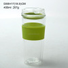 400ml high quality double wall glass drinking cup with silicone lid and sleeve