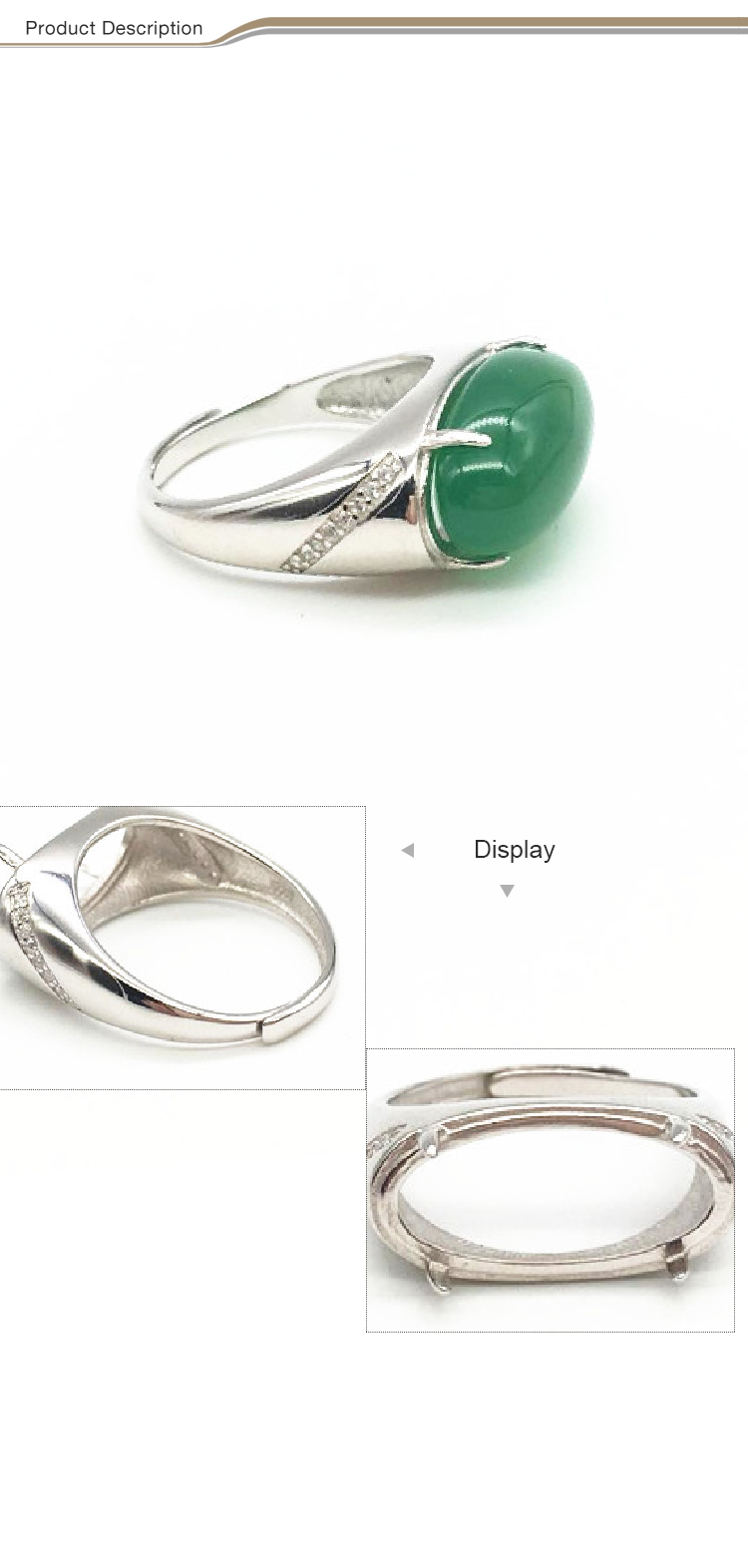 Wholesale fashion ring adjustable 925 sterling silver jade ring for women