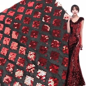 Geometric Square Embroidery Textile Party Dress New 2019 Cheap 5mm Sequin Fabric