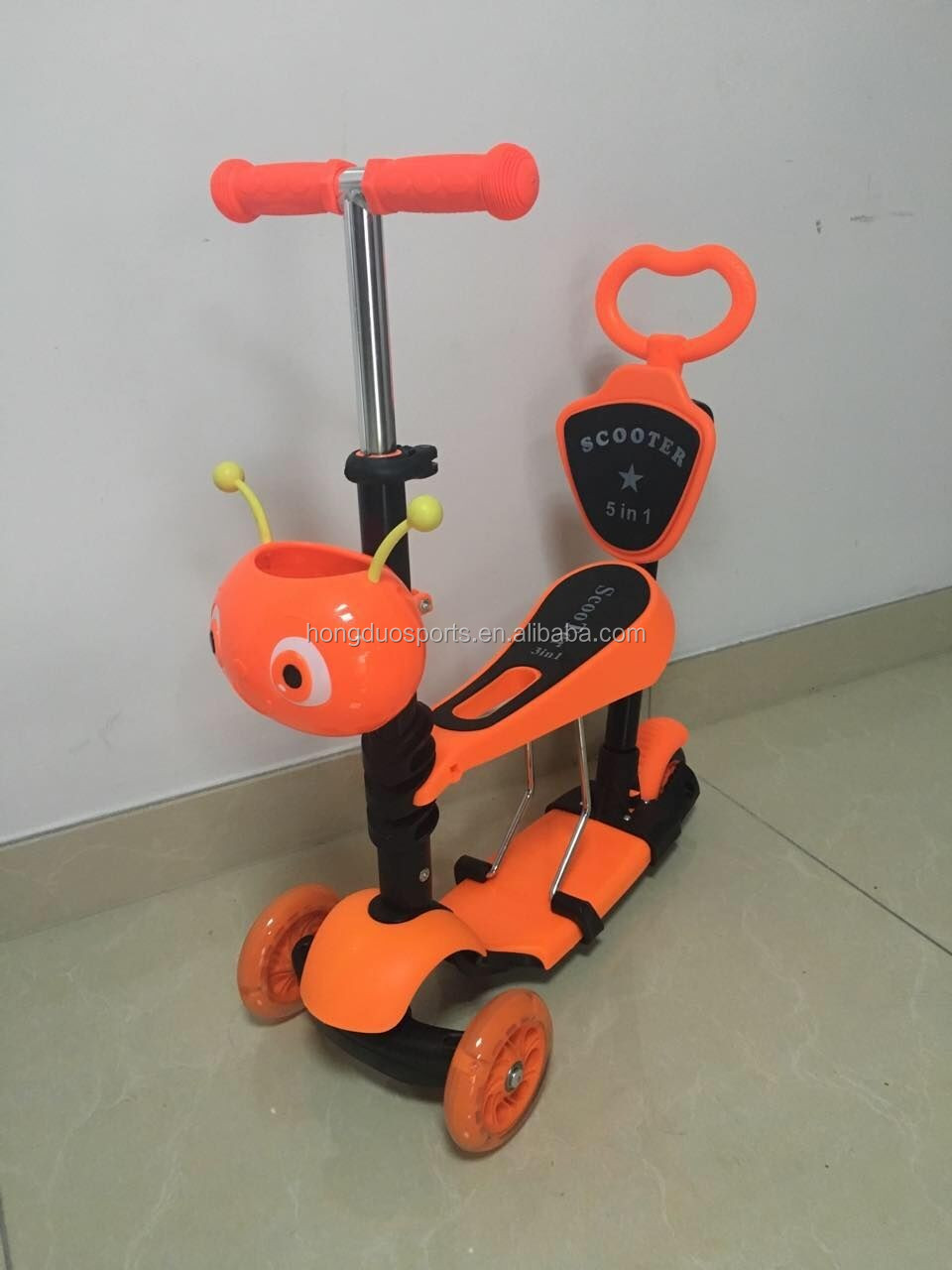 New design baby seat kick scooter with Mom push handle