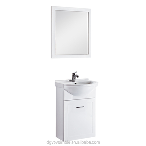 modern style corner cabinet bathroom vanity with ceramic basin