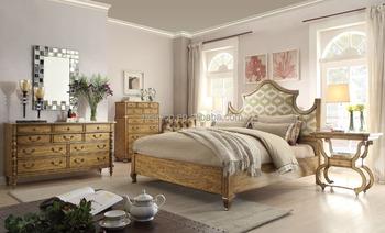 Slaapkamer Amerikaanse Stijl : Luxe amerikaanse stijl massief houten kingsize bed met stof kopschot