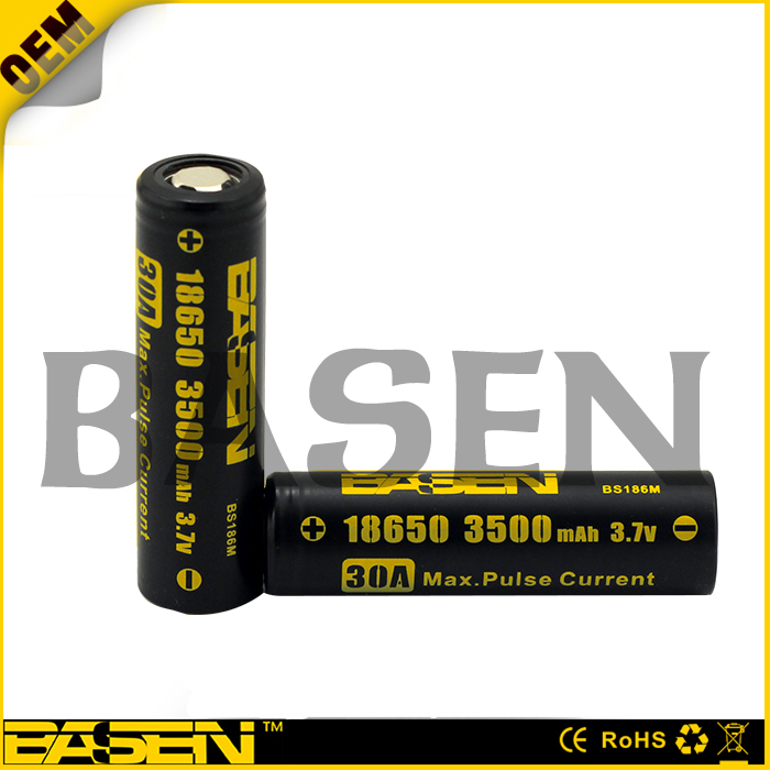 BASEN High Quality Rechargeable Li ion Battery 30A 3500 mAh 18650 3.7V Lithium Battery