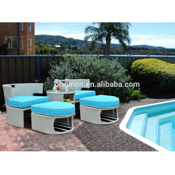 Modern Design Double Seat Outdoor Swimming Pool Rattan Chaise Lounge With  Footrest And Storage Round Wine Table Poolside Sunbed - Buy Poolside ...