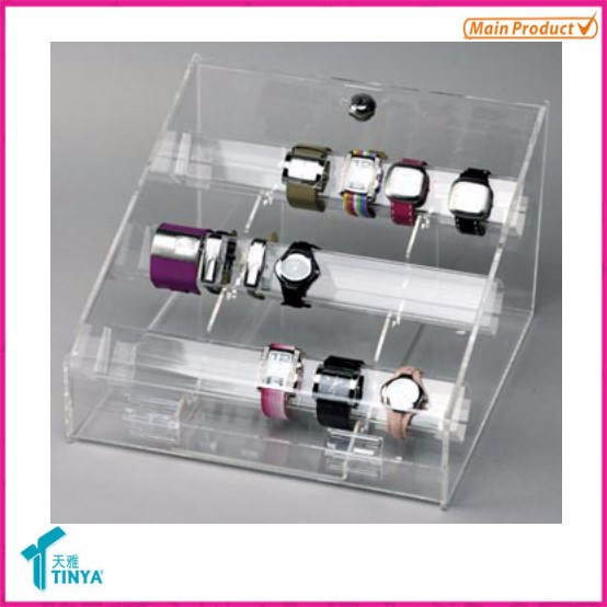 "Custom Luxury Lucite Perspex Jewelry Bracelet Display Watch Stand 7 ""C"" Ring Counter Acrylic Watch Display Stand Wholesale"