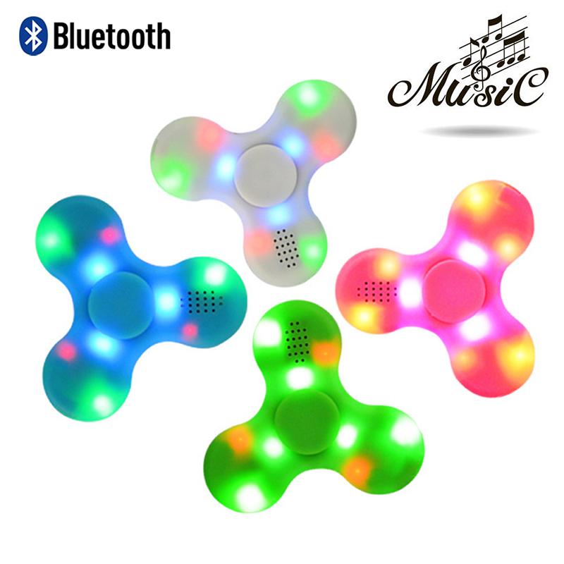 Bluetooth Speaker Music LED Fidget Hand Spinner Finger Toy EDC Focus Gyro Gift