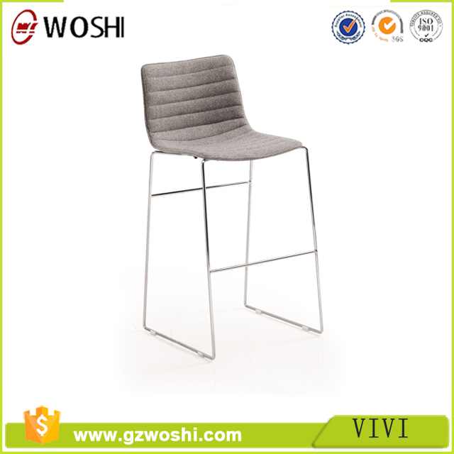 Modern bar stool made in China, High stool with backrest, High chair with chromed steel base