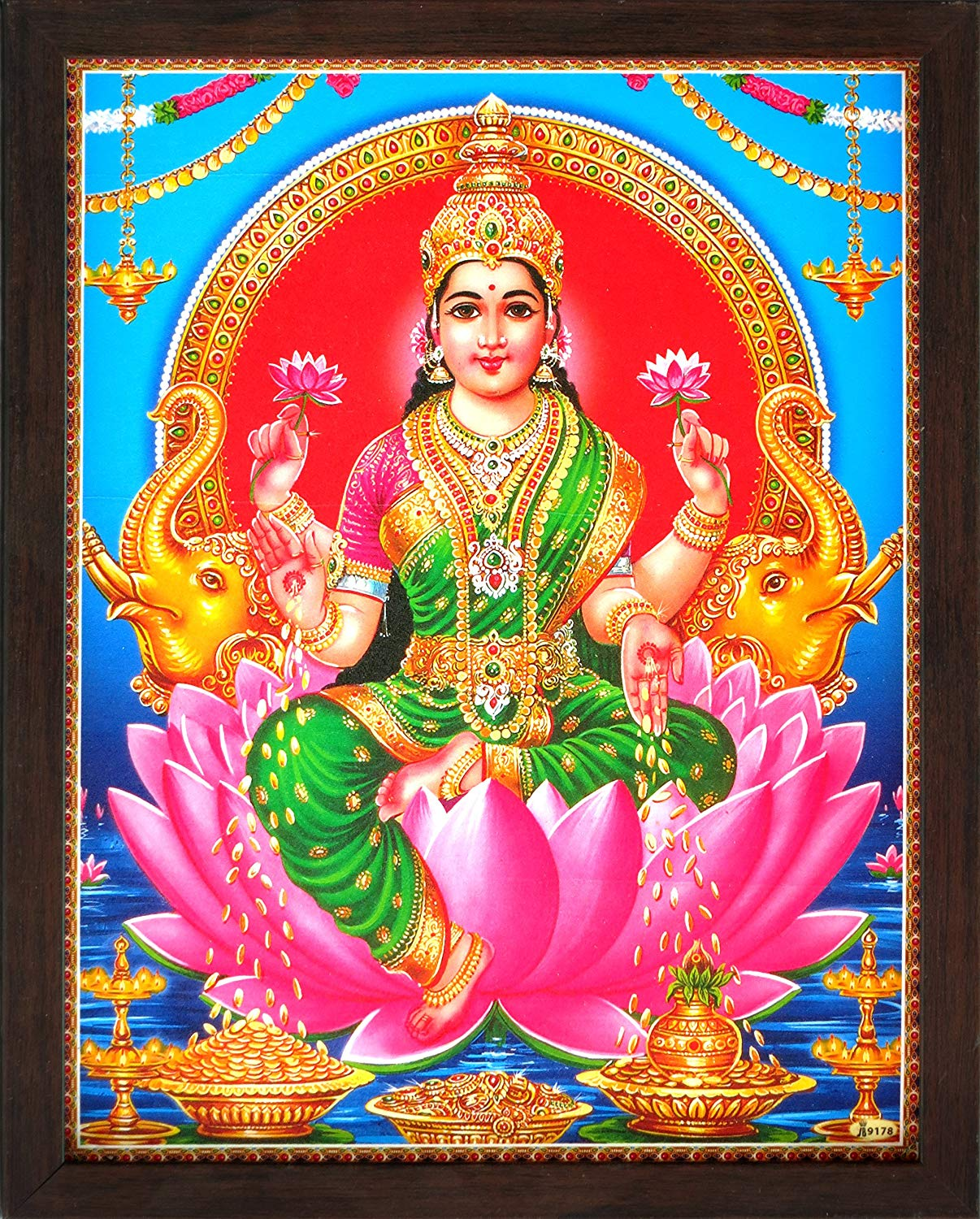 HandicraftStore Holy Indian Hindi Religious Goddess Maa Lakshmi Showering Money, A Indian Hindu Religious Poster Painting with Frame