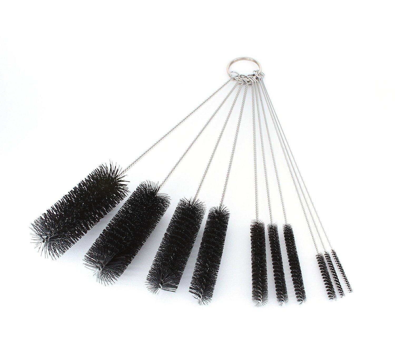 Rybka (TM) 8 Inch Nylon Tube Brush Set - - Variety Pack (10 pieces) Cleaning Brush Set for Drinking Straws, Glasses, Keyboards, Jewelry Cleaning Variety Pack (10 pieces) (1)