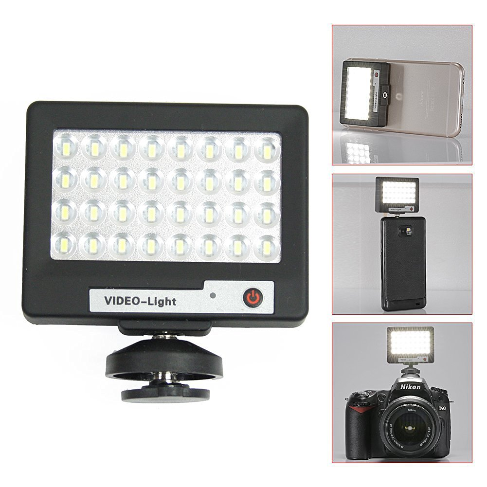 Livestream Gear® - Ultra-Thin Mini LED Video Light Attachment for Phone or DLSR. Use for Pictures, Video, Live Streaming, and More. Enhance Your Stream. (Black)
