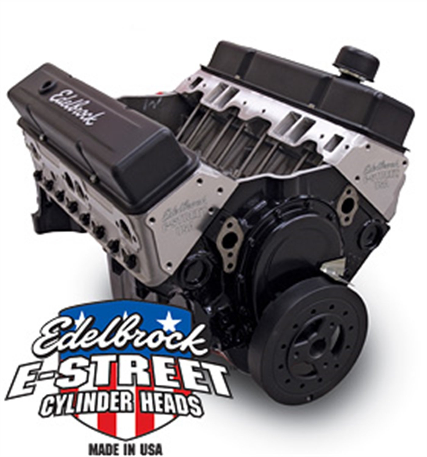 Edelbrock 45070 E-Street Crate Engine 9.0:1 Compression 5500 RMP Max Incl. E-Street PN[5089] Cyl. Heads/Performer PN[2102] Camshaft w/o Water Pump Satin E-Street Crate Engine