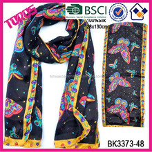 NEW DESIGN WOMEN FASHION WHOLESALE BUTTERFLY PRINTING BLACK SILK SCARF MALAYSIA