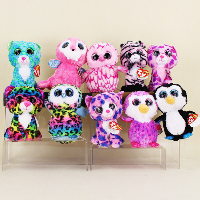 15cm Ty Beanie Boos Big Eyes Leopard Dotty Colorful Owl Penguin Pink