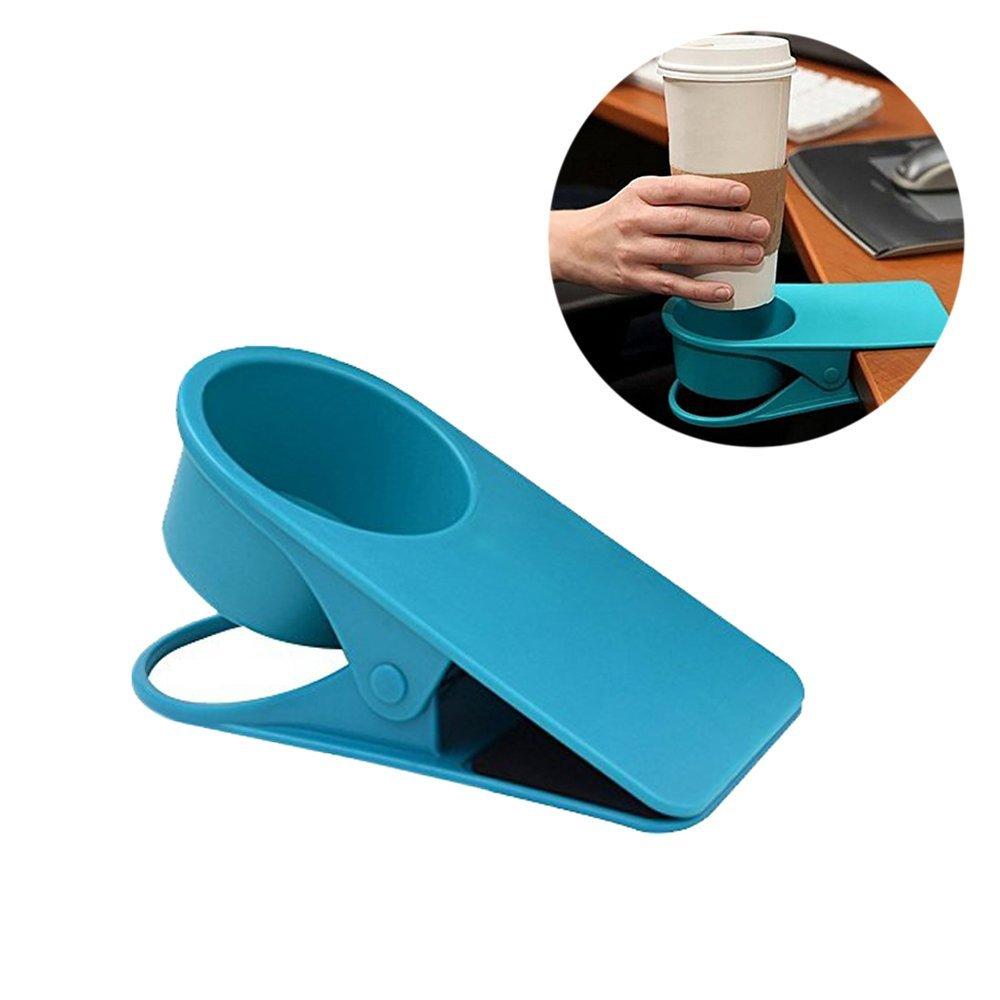 STAR-TOP Cup Holder Clip,Home Office Table Desk Side Huge Clip Water Drink Beverage Coffee Mug Holder Cup Clip (Blue 1pcs)