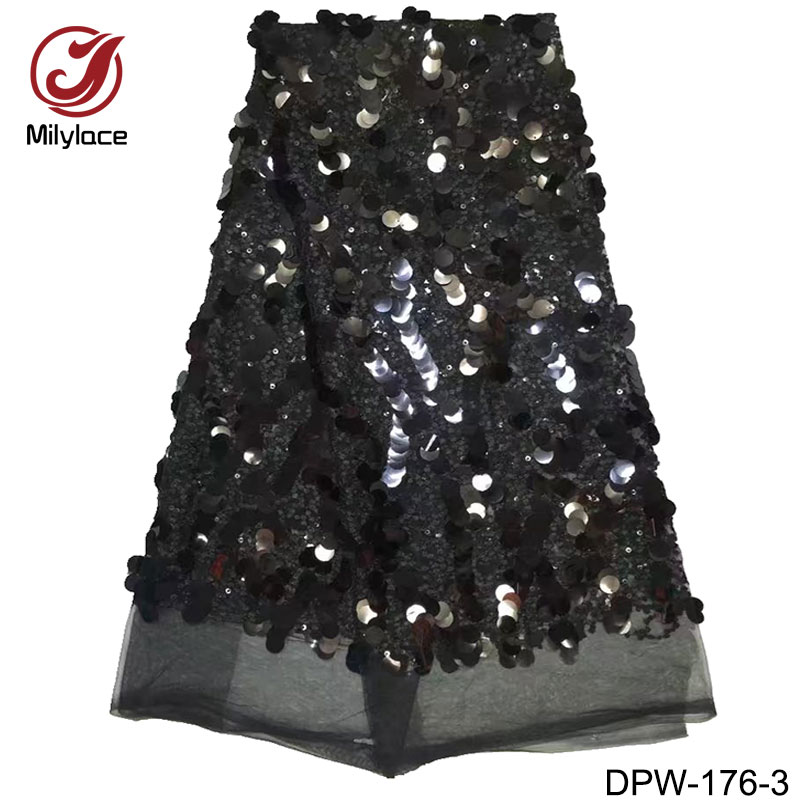 Dress making lace fabric africa french lace with shiny sequins for wedding dress