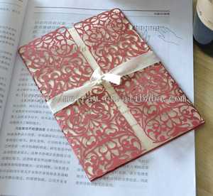 wedding decoration materials ! fuchsia, red lace cutting wedding cards from Mery crafts