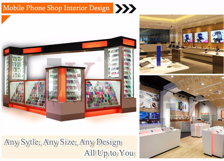 Retail custom high end mobile phone shop decoration for Mobile furniture design