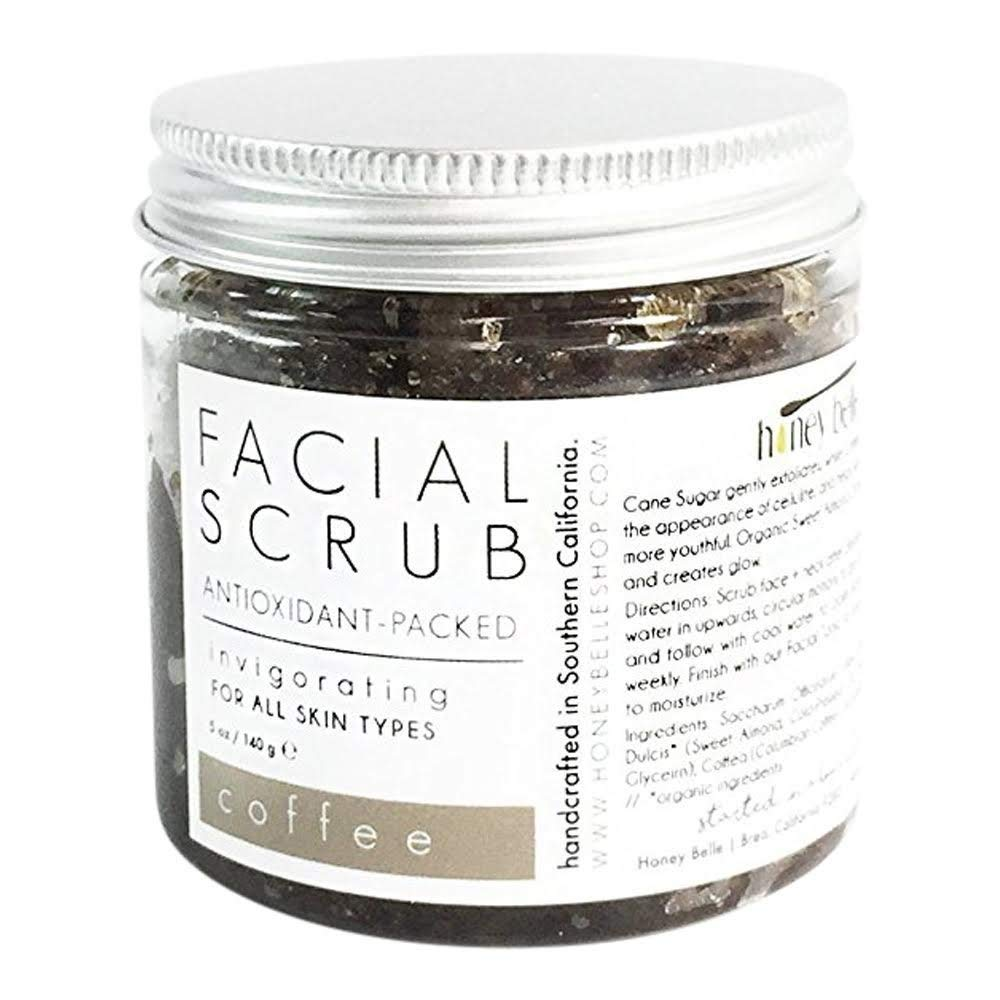 All Natural Coffee Detox Face Scrub | 100% Organic Facial Scrubs | Exfoliate, Hydrate, Moisturize All Skin Types | For Blemishes & Blackheads, and the Best Exfoliating Sugar - By Honey Belle