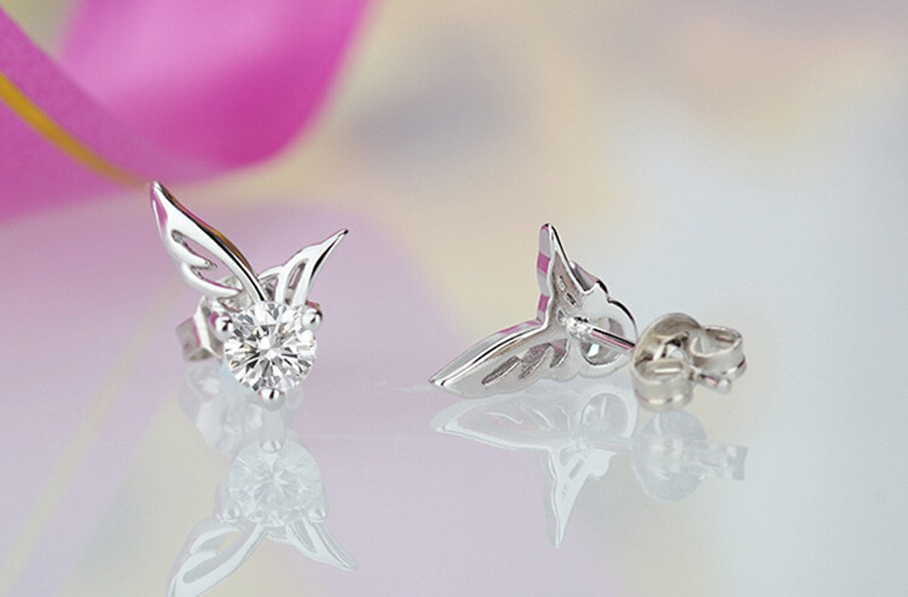 Latest Angel Wings Shape Beautiful Silver Earring Designs For Fashion Stud Earrings Crystal