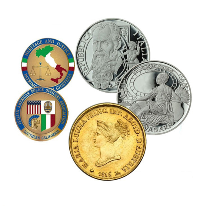 Italian Memorial Symbol Arts Engravable Brass Real Gold Silver Plating  Offset Printing Soft Enamel Custom Coin Maker - Buy Custom Coin  Maker,Custom