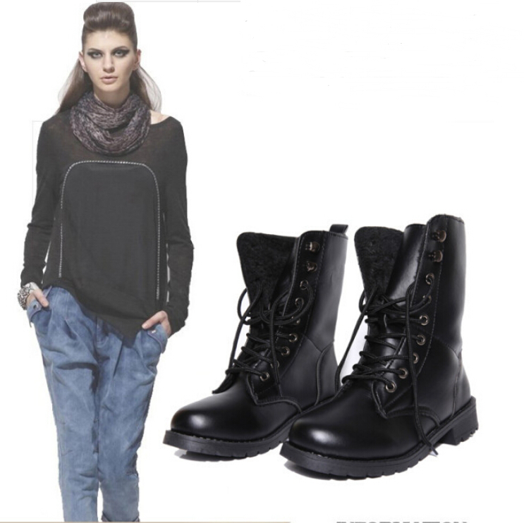 black hiking style boots