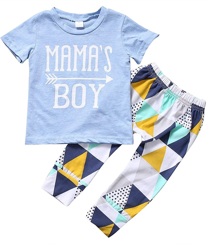 d320cace1b7b Get Quotations · Baby Boys Summer 2Pcs Outfit Mama s Boy Short Sleeve  T-shirt Pants Clothing Set