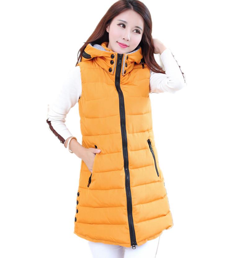 Толстый зима жилет женщины длинная жилет закрытый воротник вниз хлопок жилет большие размер женщины пальто одежда