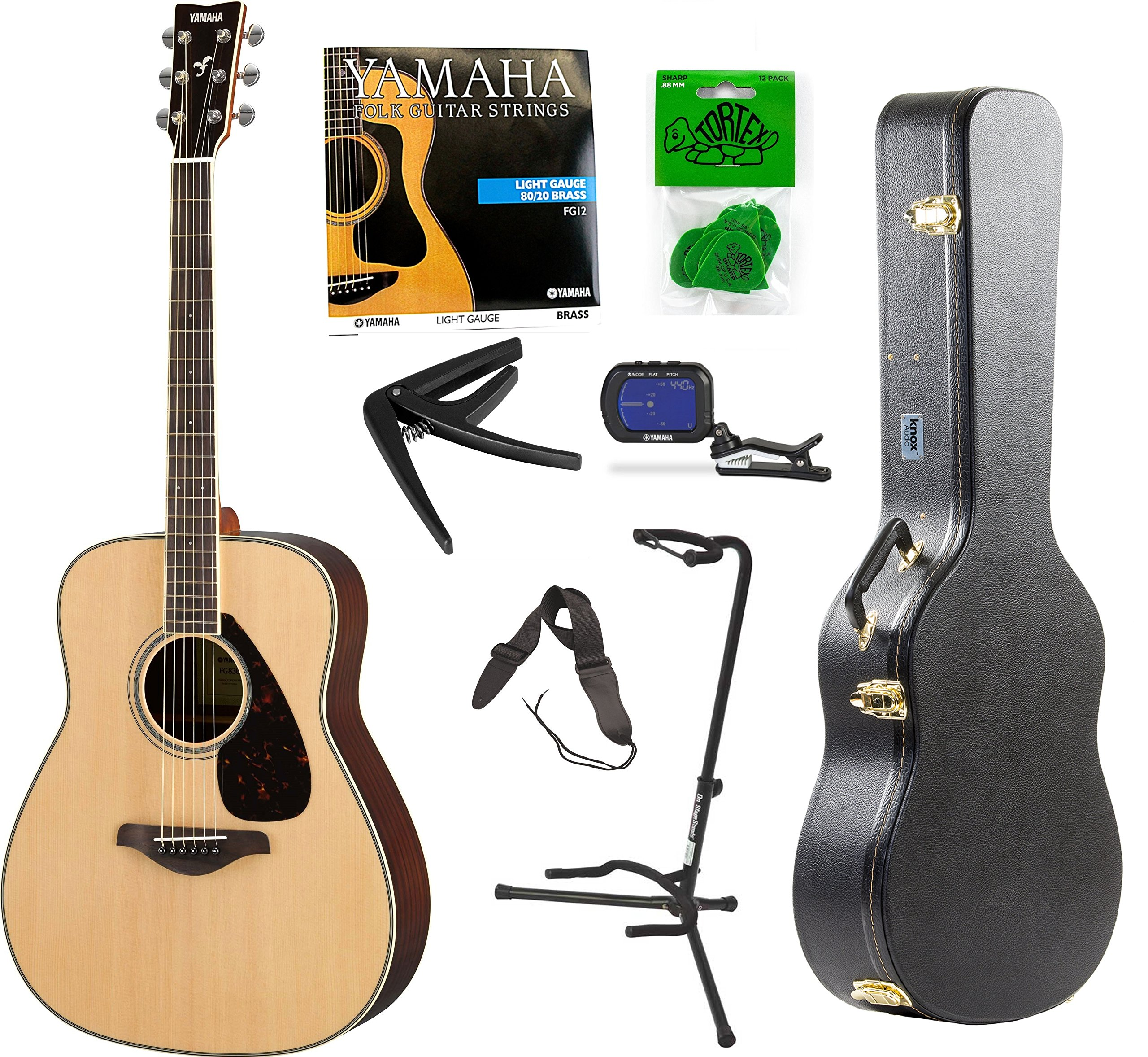 0628f55eac Get Quotations · Yamaha FG800 Acoustic Guitar Solid Top with Knox Hard  Shell Guitar Case ,Tuner,Stand