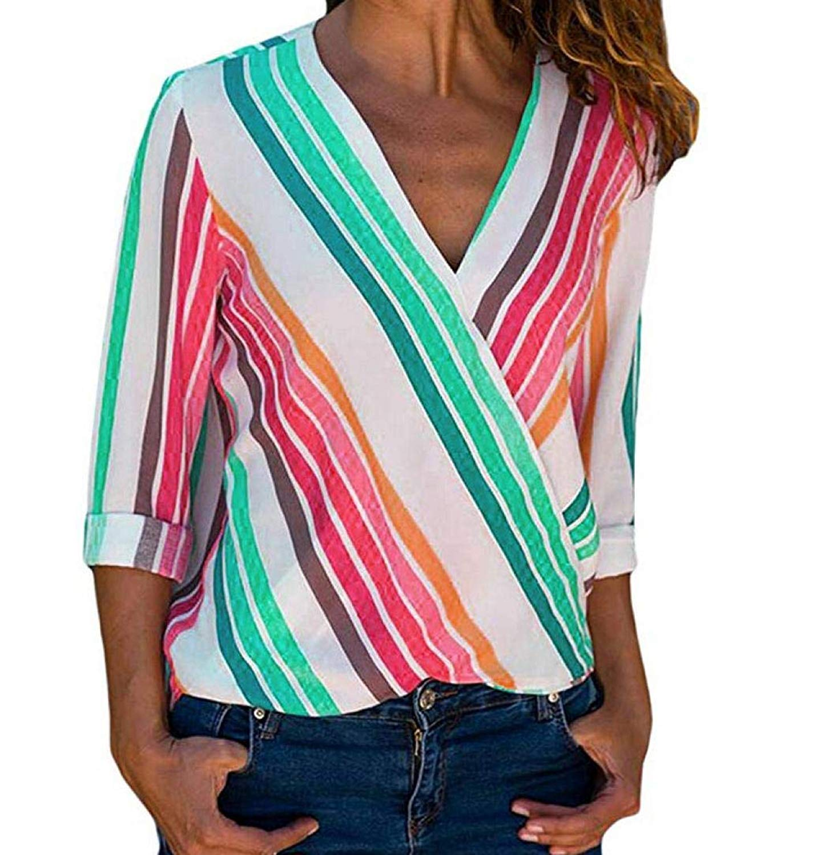 4fd297c98ae8ca Get Quotations · Howstar Women's Long Sleeve T-Shirt Rainbow Striped  Irregular Blouse Sexy V-Neck Shrits