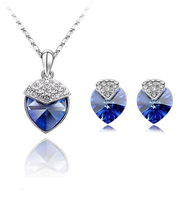wholesale Ocean Star Full heart pendant necklace earring set silver jewelry navy blue Crystal Heart shape wedding jewelries set