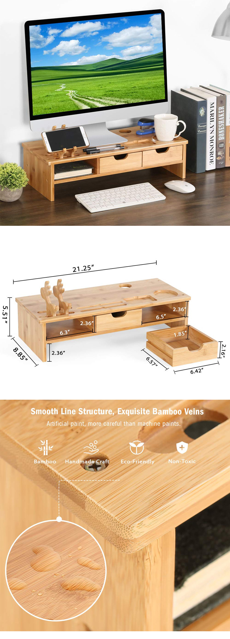 Monitor Stand Wooden Organizer MSL-068 Details