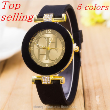 f552693ead6 2018 New Fashion Brand Black Geneva Casual H Quartz Watch Women Crystal  Silicone Watches Relogio Feminino