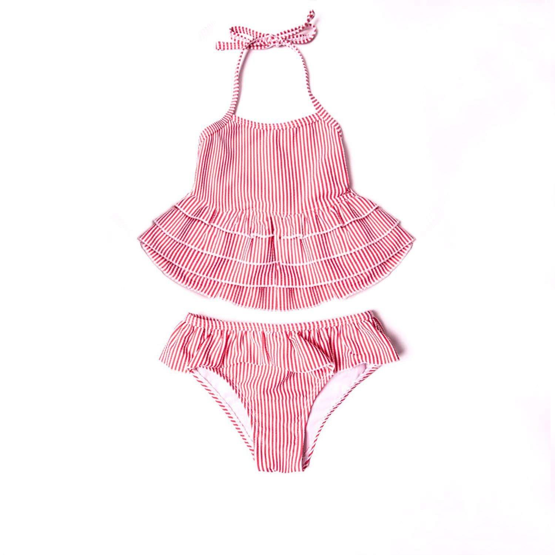 d7d95bde435d6 Get Quotations · 7-Mi Little Girls Swimsuits,Two Piece Bathing Suit Kids  Cute Pink Skirted -