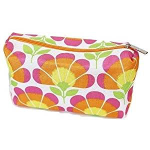 Clinique Bright Orange Pink and Green Floral Print Cosmetic Makeup Bag