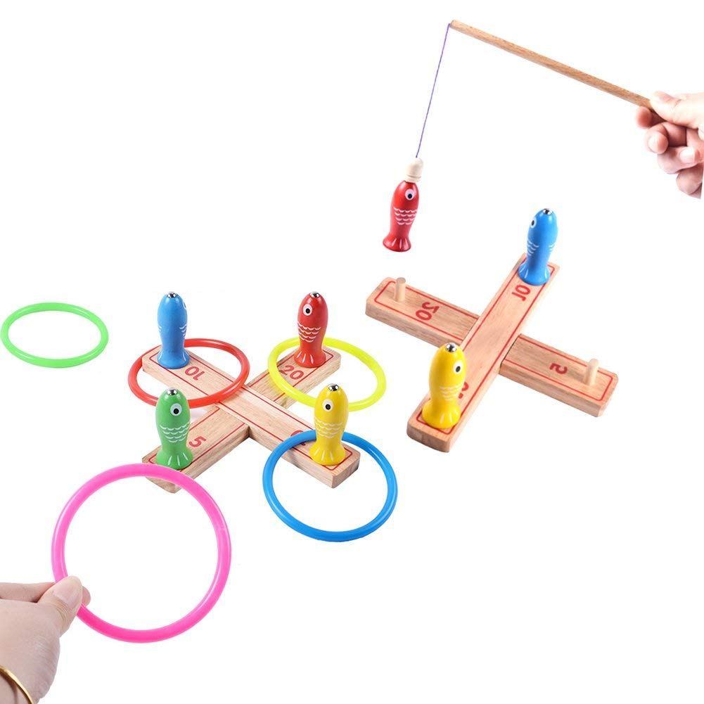 Honice Kids Ring Toss Games, Magnetic Fishing Games,for Kids indoor and outdoor Toys Keep Kids Active,Wooden Easy to Assemble Fun Family Games By