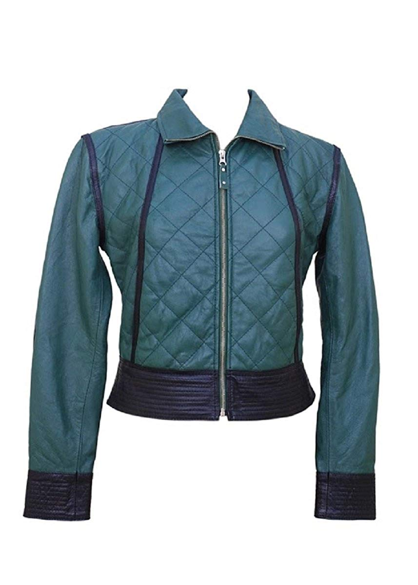 Bestzo Women's Fashion Jacket Lamb Leather Blue XXL