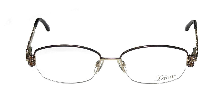 e116b8a03 Get Quotations · Diva 5285 Womens/Ladies Designer Half-rim Crystals  Eyeglasses/Eye Glasses