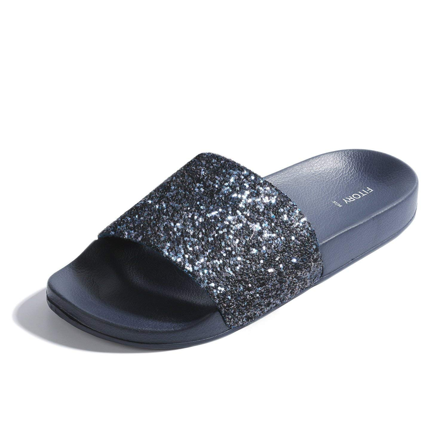 6be37b820 Get Quotations · FITORY Women Slides, Sparkly Glitter Arch Support Slippers  with Bling Slip on Flats Sandals for