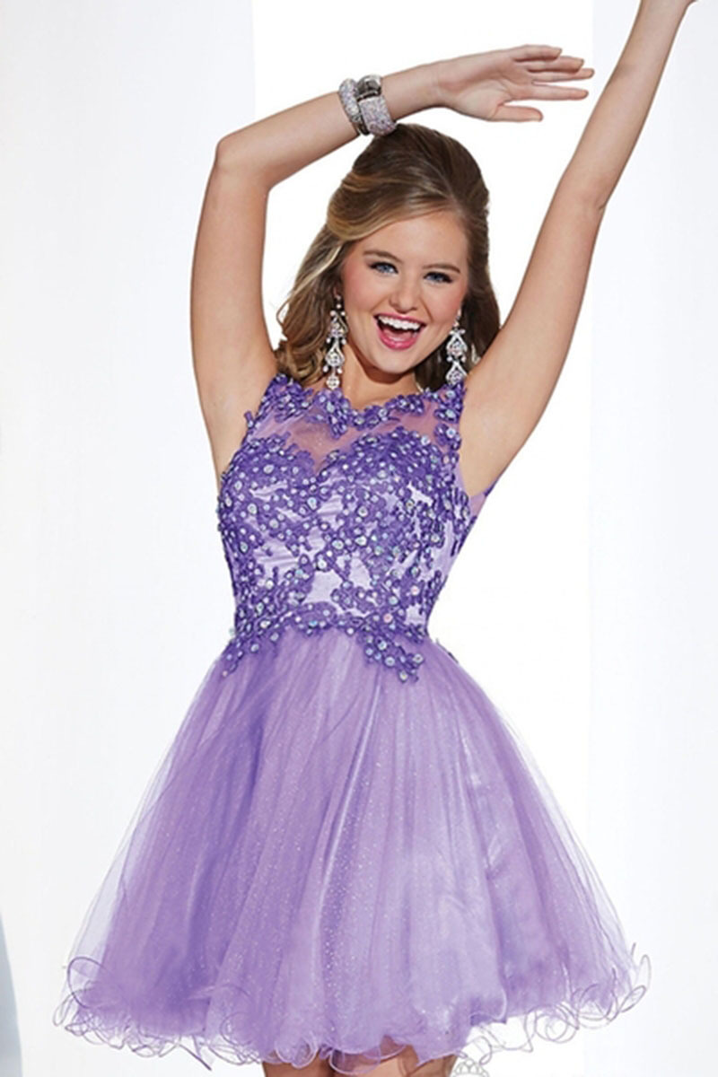 Get Quotations · Prom Dresses 2015 Purple Appliqued Beaded Girl Graduation Dresses  Juniors Short Tulle Homecoming Backless Sexy Cocktail 39b6a7423