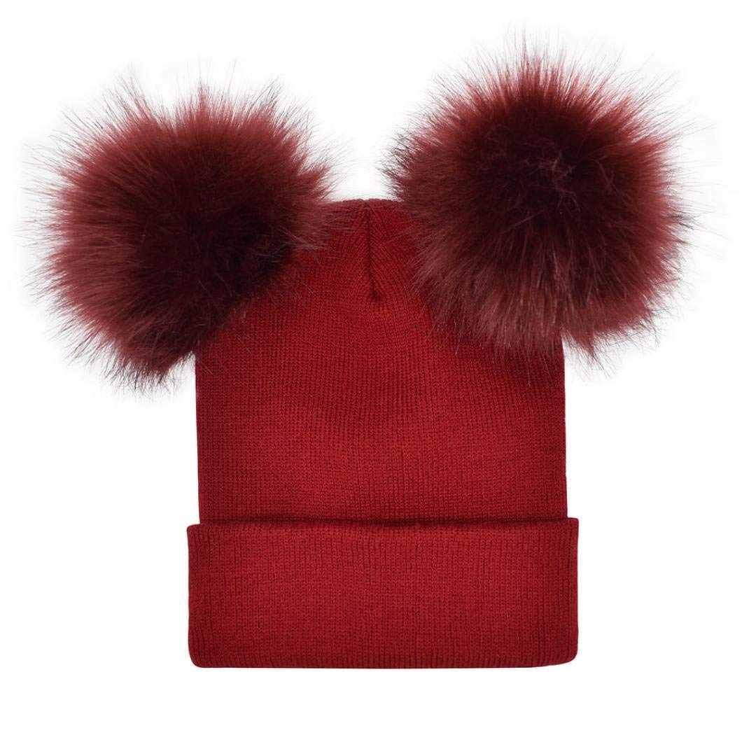 Hunputa Women Hat Winter, Women's Winter Cable Knitted Faux Fur Double Pom Pom Beanie Hat Lined Ski Cap