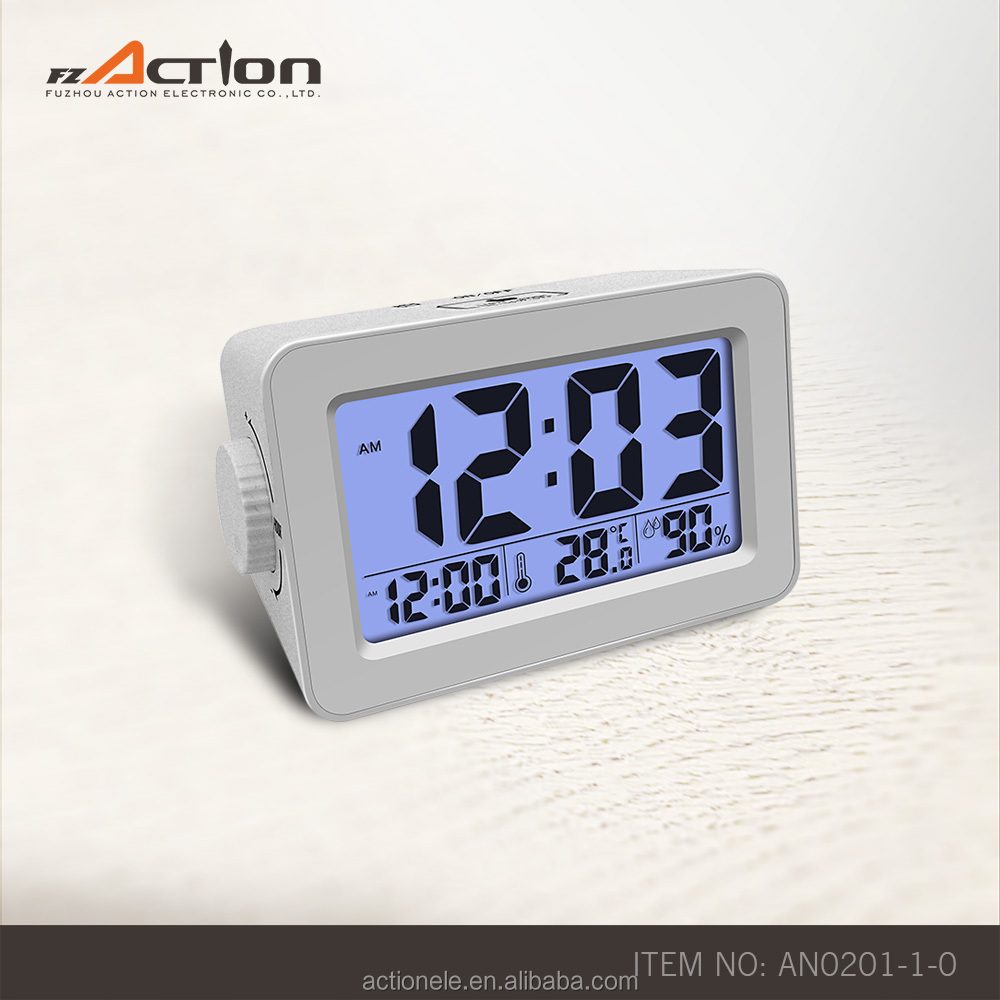 smart cube alarm Digital calendar day lcd clock with night sensor and USB phone charger